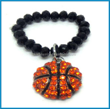 fashion crystals basketball hang with handmade beads finger ring
