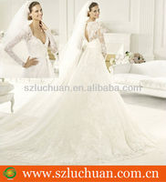 Hot product sexy V-neck backless long sleeve lace wedding dresses