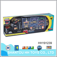 Diecast container model truck with 6 alloy cars for kids HH191239