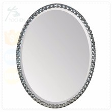 Round Acrylic Crystals Metal Mirror for Living Room Wall Decoration