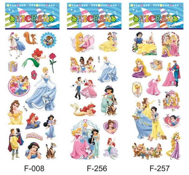 Free shipping wholesale 6000sheets hotsale PVC 3D stickers lovely princess waterproof stickers for <strong>kids</strong>