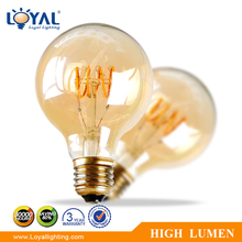 High efficiency indoor glass cover a80 e27 3w led filament bulb lamp