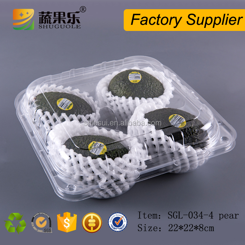 Cheap Plastic Disposable Pear Avocado Packing Box with 4 cells