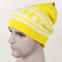 custom long yellow knitted hats/caps