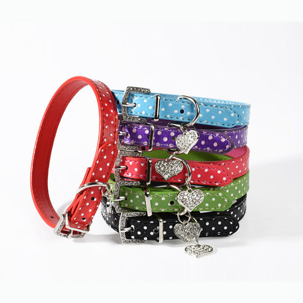 Fashion wave point for pet collars with name card,different color for dog collar