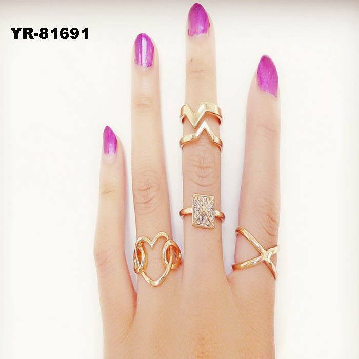 3pcs / Set Gold Urban Rings Crystal Above Knuckle stacking Band Midi Mid Ring