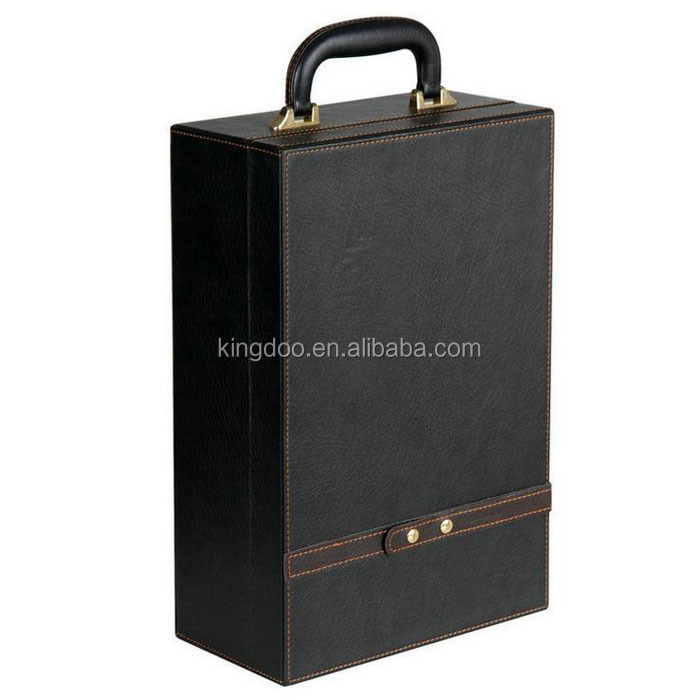 Luxury Matt PU Leather Top Handle 2 Bottle Wine Box Travel Storage Box
