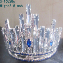 2016 China factory Supplier Silver Rhinestone Pageant tiara prince crown for kids