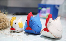 Handmade sewing felt needlework kit chicken family for kids craft