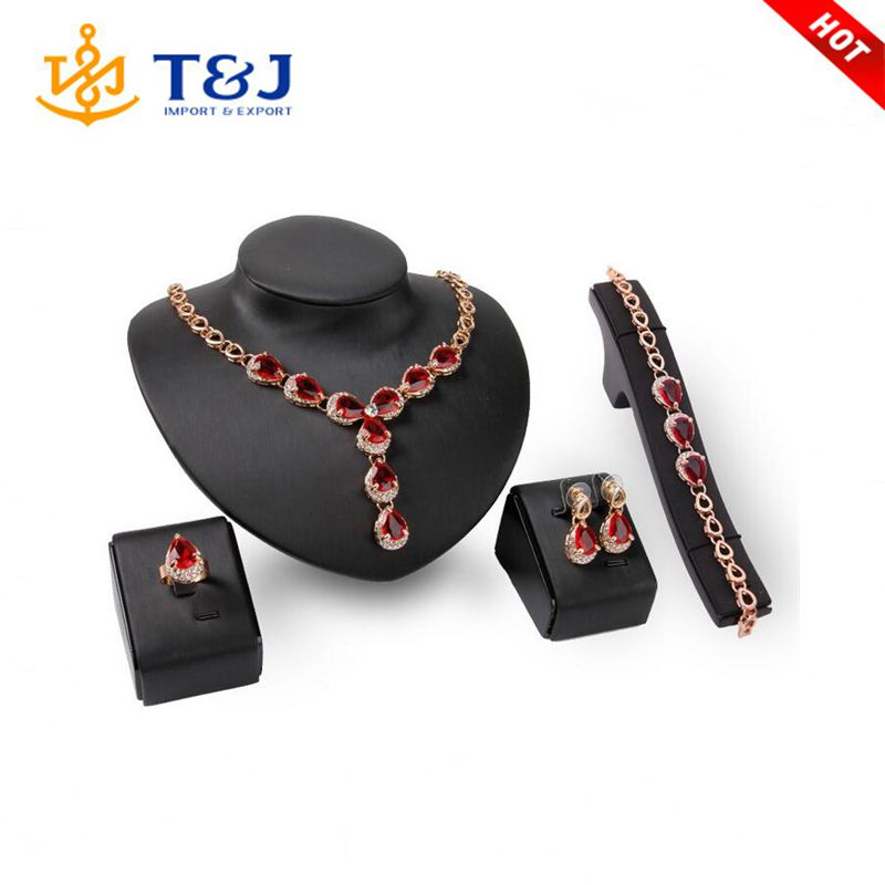2016 Charm Red Wedding Jewelry Sets For Women Gold Plated Waterdrop Crystal Bracelet & Ring Earring & Necklace Sets