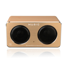 2018 New Products Dual Horn Loudspeakers Portable W2 Mini Wooden Wood Wireless Speaker