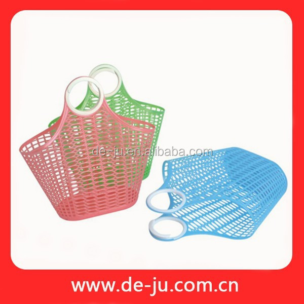 Candy Color Ring Handle Plastic Wall Basket