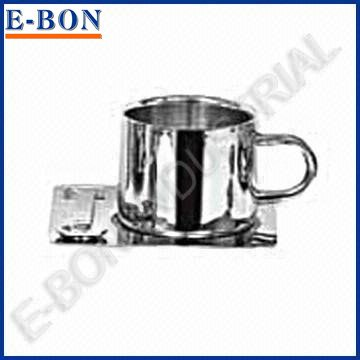 Stainless Steel coffee cup and saucer set with One Spoon
