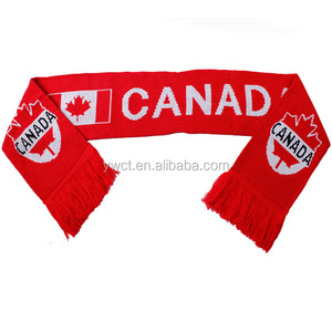 Canada National Flag Knit Scarf Sports Team Football Fans Scarf
