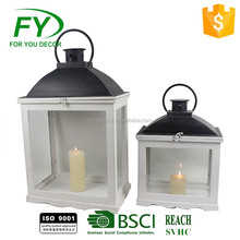 chinese manufacturer good price portable candle cream wood,black metal top wooden lantern with glass