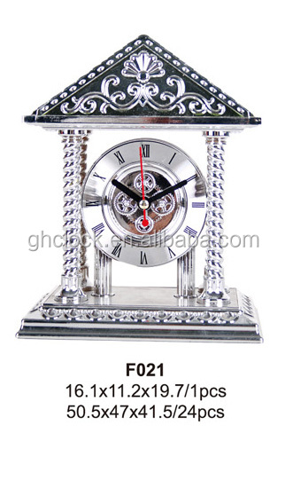 Home Decor Mechanical Unique Antique Silver Colour Table Clocks
