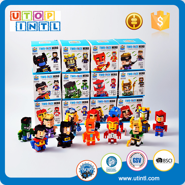 Wholesale ABS plastic 12 characters building blocks toys set