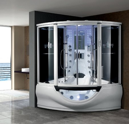 black acrylic 2 person combo with spa bathtub w/MP3/TV steam shower room