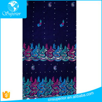 Shaoxing textile fabric polyester korean velvet cloth flannelette rhinestones sequins embroidery george style Middle East