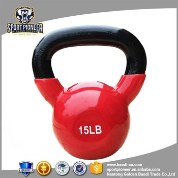 15lb power coated kettlebell vinyl dipping kettlebell fitness equipment