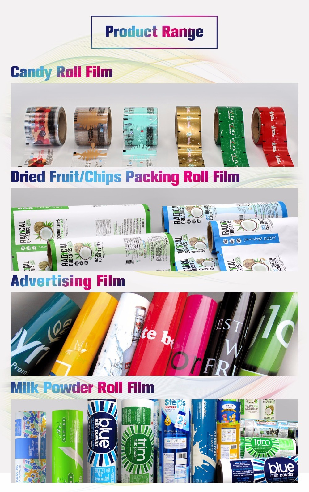 Rigid outdoors banner laminated advertising roll film with print