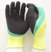Winter foam latex coated working gloves double palm work gloves