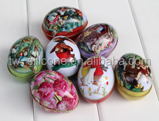 Easter Egg Decorations Metal Tin Box