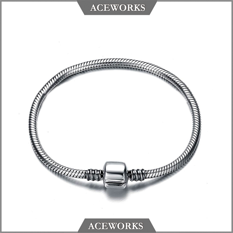 PC102 Aceworks High Quality 925 Sterling Silver Snake Chain Charm Bracelet