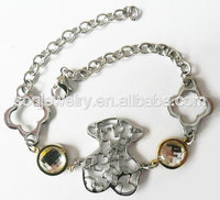 SB50121900(24) New Arrival Fashion Stainless Steel Cute Bear Charms Pure Crystal Stone Bracelet