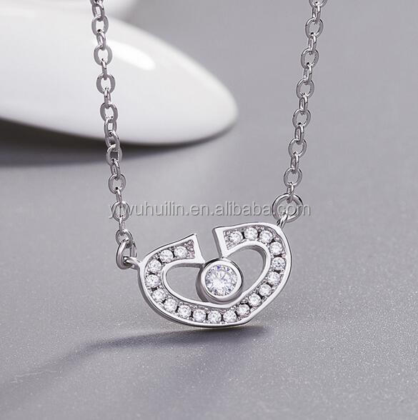 YFY142 Yiwu Huilin Jewelry Wholesale New Arrival Top quality Silver heart crystal stone pendant necklace