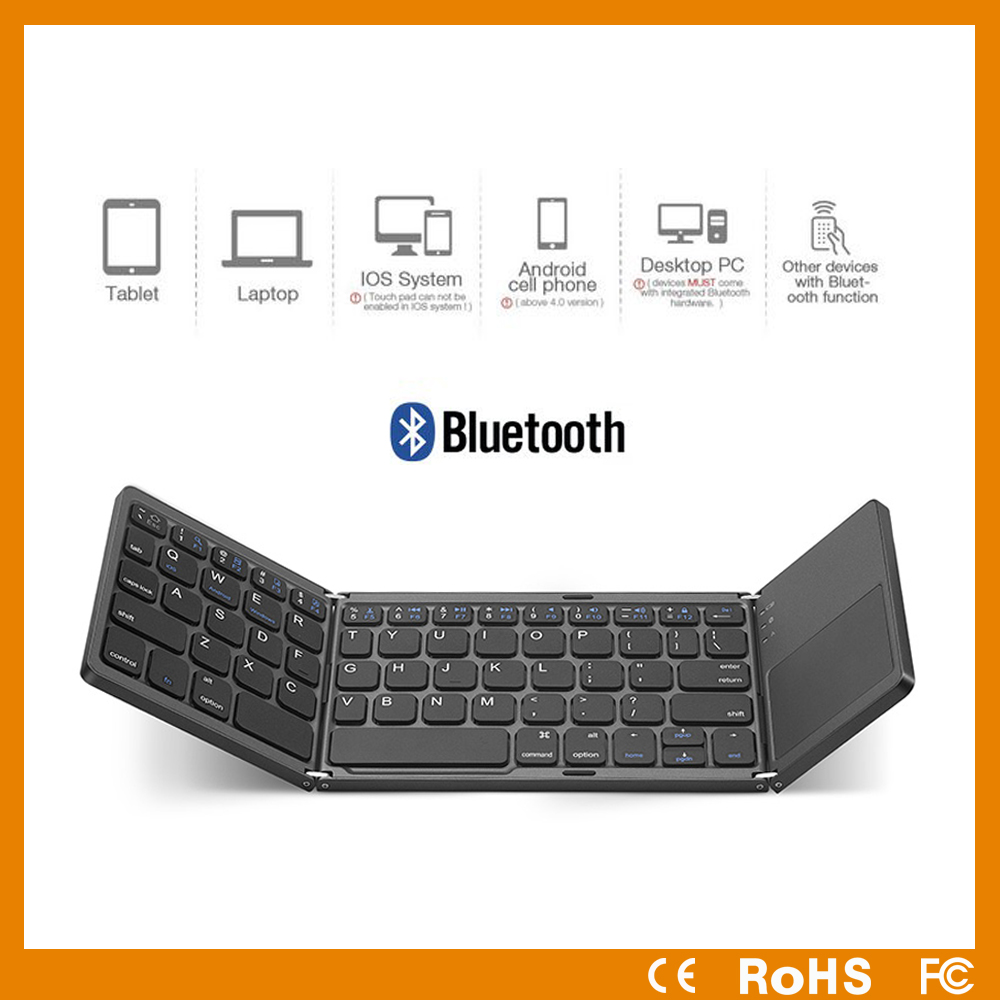 2017 newest portable mini wireless bluetooth keyboard with touchpad mouse foldable keyboard for laptop