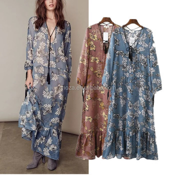 C24197B latest fashion printed dress women casual beach gowns