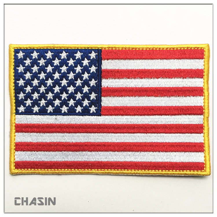Custom design American badge embroidered national flag logo embroidery iron on patches