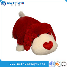 Custom Made Red Nose Laydown Red Valentine's Day Stuffed Big Dog Plush Toys