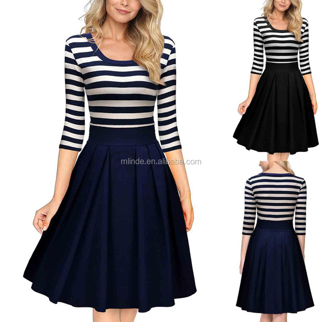 Business Clothes Rayon Nylon Spandex Navy Stripe Scoop Neck 2/3 Sleeve Casual Swing Dress For Casual Outdoor Party Wedding