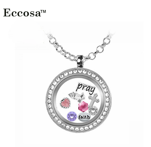 Silver Rhinestone Glass Memory Floating Charm Lockets