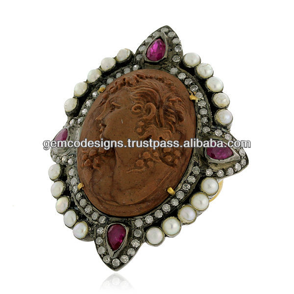 18k Gold Pave Diamond Ruby Gemstone Natural Pearl Designer Cameo Ring Wholesale Jewelry