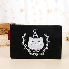 cute cat print cotton pouch black makeup bag <strong>cosmetic</strong>