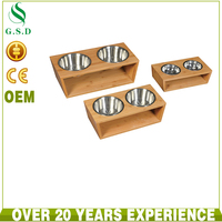 wholesale luxury wooden pet feeder , 2 stainless steel pet dog bowls stand