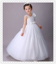 The first communion dresses Single shoulder White Flower Girl Dress