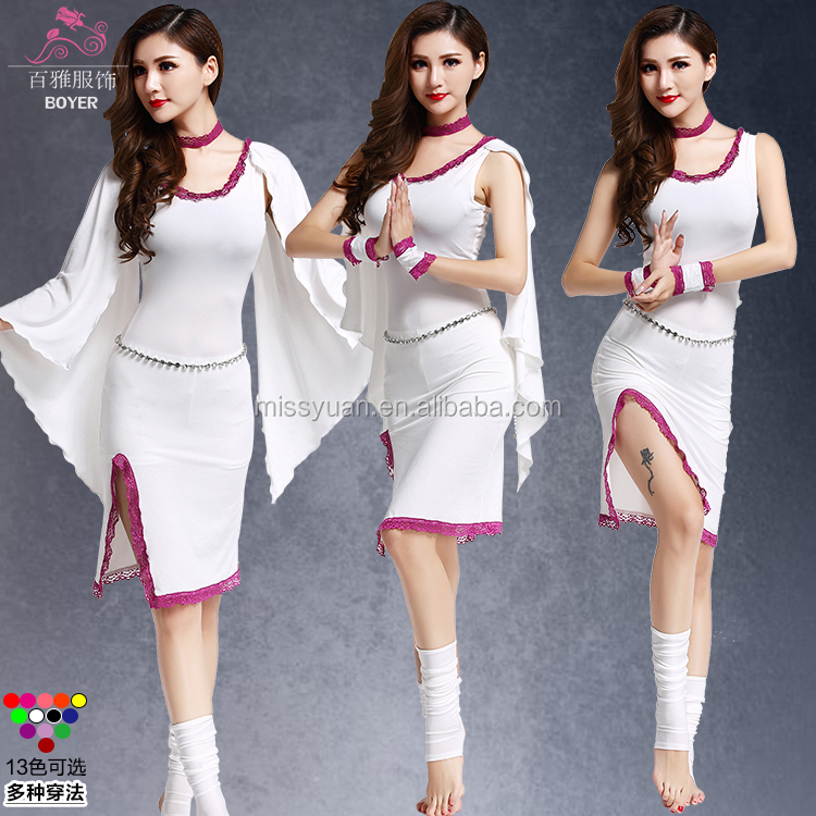 China cheap lady white belly dance costumes for sale