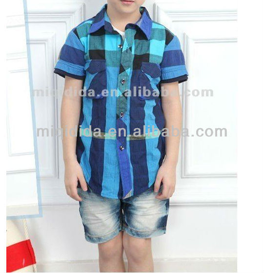 China wholesale kids clothes boy collar plaid shirt colourful cotton shirt for kids