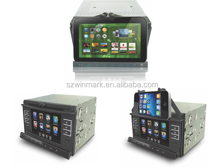 2014 newest car DVD player with holder for cellphone and pad DI7055