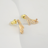 Fashion Female zircon 18K gold plated high-heeled shoes charms earring (E108530)