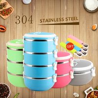 2016 Chuangsheng 3 Compartment Food Container,Insulated Thermos Metal Stainless Steel Lunch Box For Kid