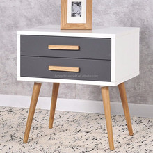 Plasma Oak Scandinavian 2 Drawers Nightstands Cabinet Wooden Bedside Table
