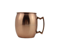 16oz single wall stainless steel moscow mule vodka beer cup,copper plated mug with handle