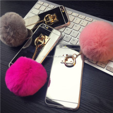 Newest Fashion Luxury Mirror TPU Phone Cases Cute Rabbit Fur Ball For iPhone 7 6S 6 Plus 5 5S Cover For iPhone 7 Case