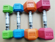 2016 popular rubber coated hex dumbbell