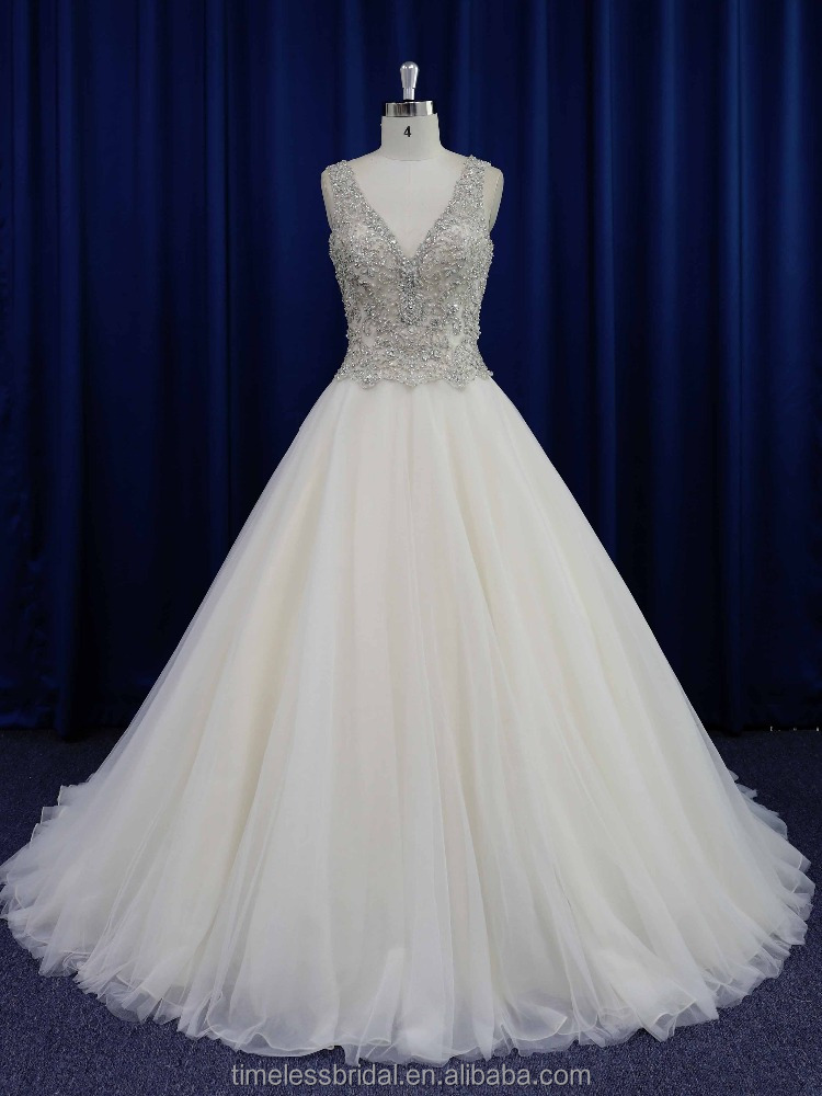 Real photo famous designer shiny embroidery wedding dress champagne color